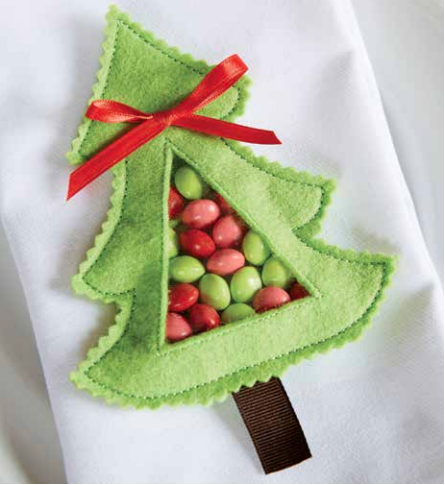 decorate your holiday table with this fast and fun in the hoop christmas tree project the design is so simple to stitch youll wish preparing christmas - Christmas Decorations To Make With Sewing Machine